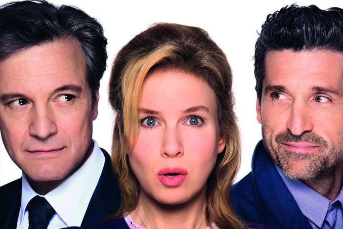 De hoofdrolspelers in de film Bridget Jones' Baby.