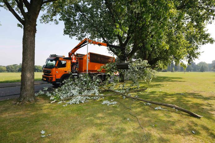 Een dag later gaat het opruimen van afgebroken takken en omgewaaide bomen in het Gofferpark nog door.