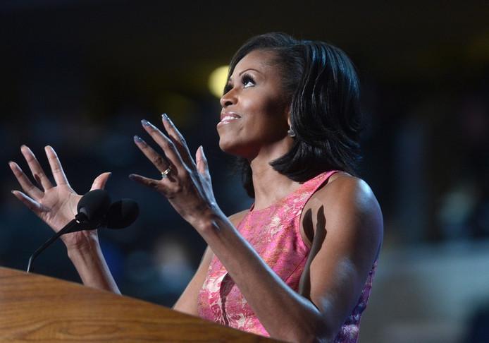 Michelle Obama tijdens haar toespraak voor de Democratische Nationale Conventie.