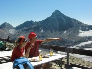 Bergwandelen tussen de marmotten in de Alpen