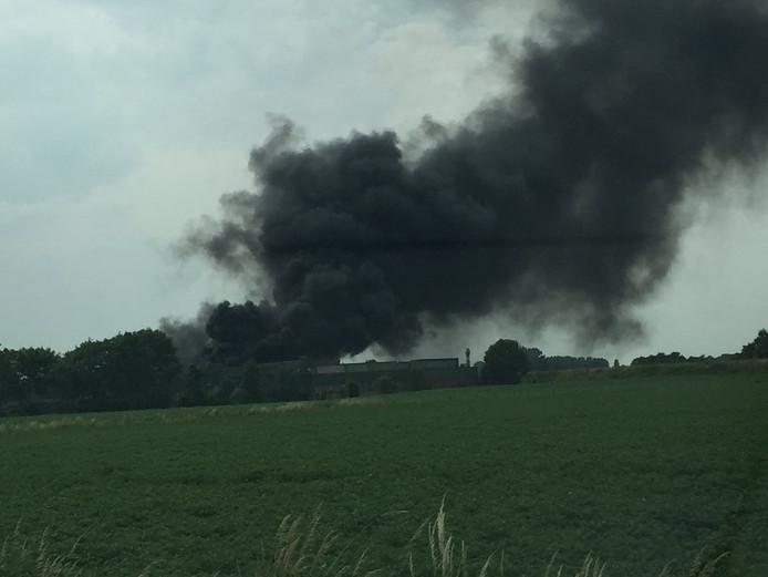 Forse rookontwikkeling door de brand in Terborg.