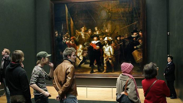 De Nachtwacht van Rembrandt in het Rijksmuseum in Amsterdam.