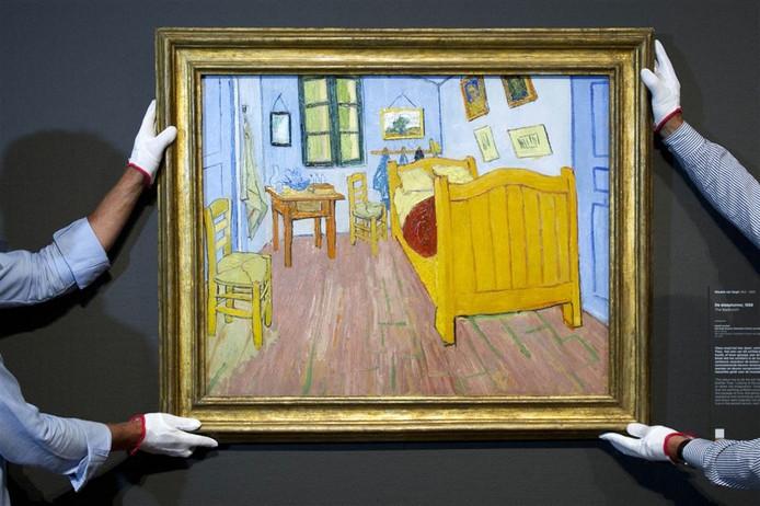 Het schilderij 'De Slaapkamer' van Van Gogh, met daarop het bewuste bed.