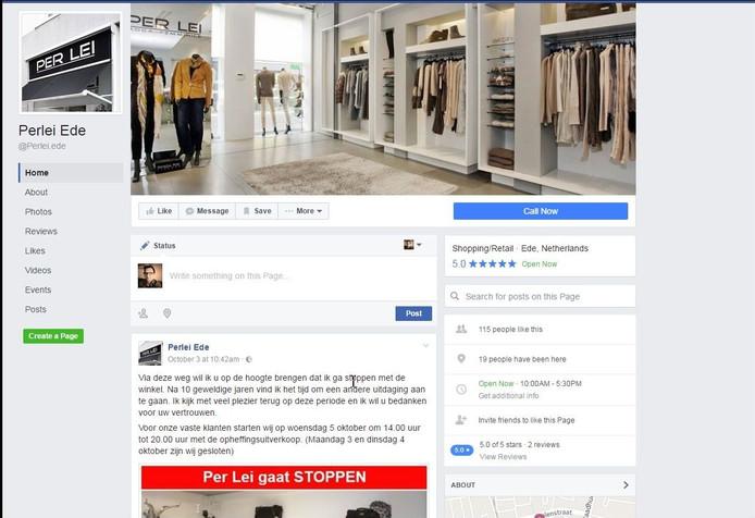 De pagina van Per Lei op Facebook.