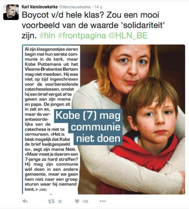 De tweet die VRT-presentator Karl Vannieuwkerke als steun aan Kobe en zijn gezin de wereld instuurde.
