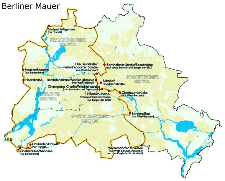 De locatie van de Berlijnse Muur, die in 1989 werd afgebroken.