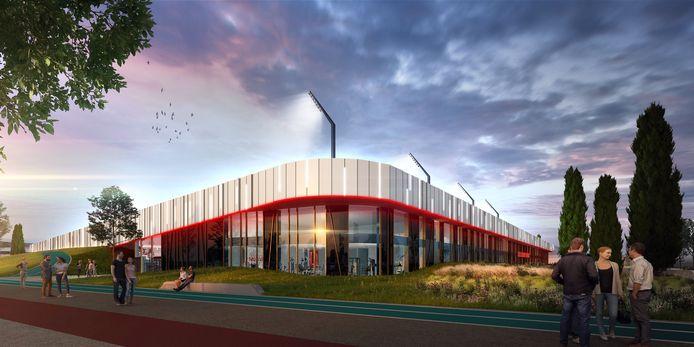 Voorlopig ontwerp van het multifunctionele stadion dat moet verrijzen op sportpark De Braak in Helmond.