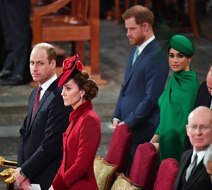 Commonwealth Day 2020: de spanning is duidelijk voelbaar tussen de twee broers, ondanks het mooie gebaar van William.