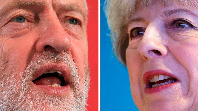 Jeremy Corbyn (Labour) neemt het op tegen Theresa May (Conservative Party).