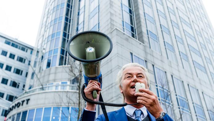 PVV-leider Geert Wilders tijdens een recente demonstratie in Rotterdam