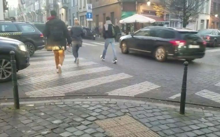 kruispunt waar voetganger door autobestuurder werd aangevallen
