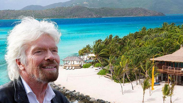 Richard Branson en op de achtergrond zijn prachtige Necker Island voor orkaan Irma.