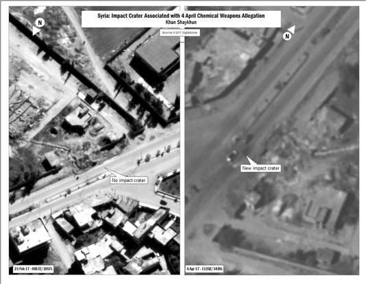 Een combinatiefoto van het Amerikaans ministerie van Defensie waarop de impact van de gifgasaanval dinsdag te zien zou zijn.