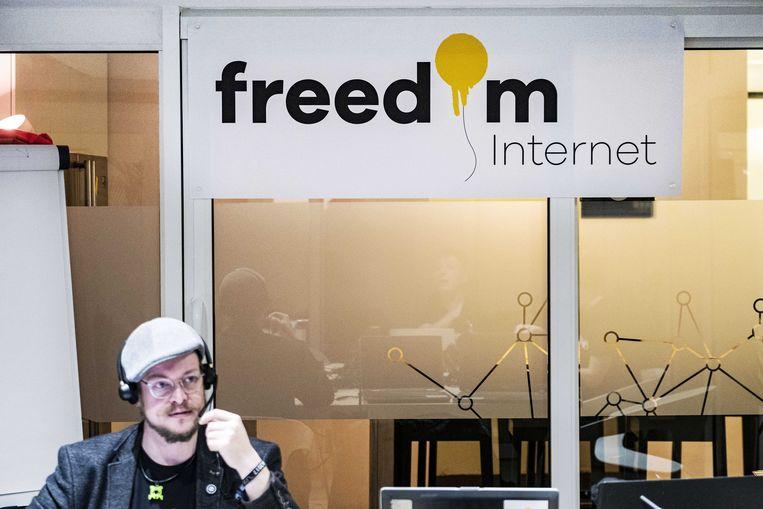Freedom Internet wordt de naam van de nieuwe internetprovider van de actiegroep die XS4ALL in de lucht wilde houden.  Beeld ANP, Ramon van Flymen