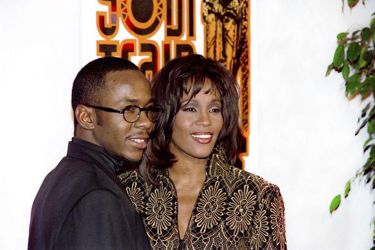 Whitney Houston  en haar man Bobby Brown. Beeld AFP