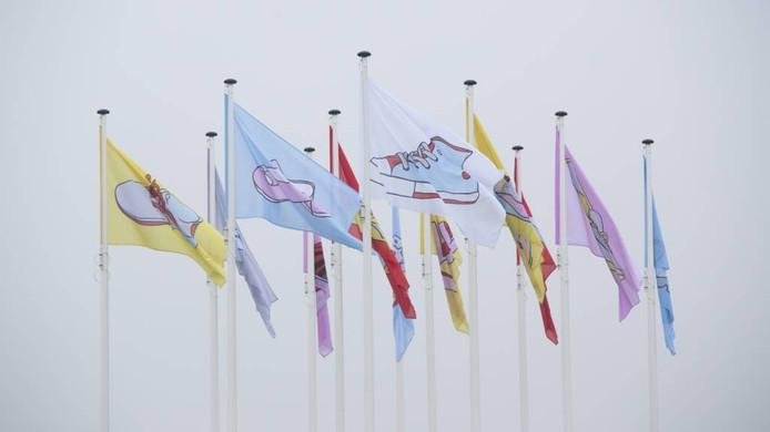 Vlaggen met lege schoenen horen vol verwachting in de wind te wapperen nu de komst van Sint Nicolaas aanstaande is. Foto Bart Harmsen