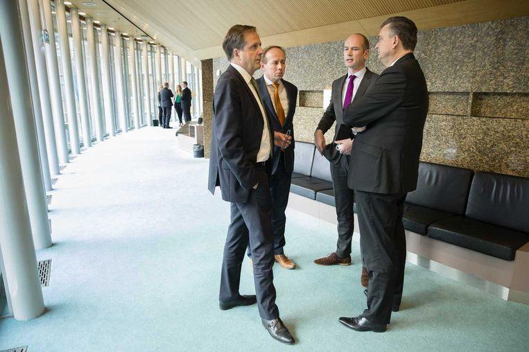 Partijleiders Pechtold (D66), Van der Steur (SGP), Segers (CU) en Roemer (SP). Beeld anp