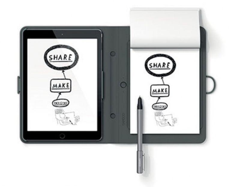 Wat je rechts tekent, verschijnt links op je tablet of smartphone. Beeld