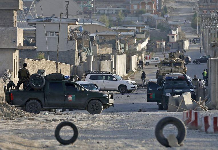 Het afgezette gebied waar onder andere een NAVO-militair het leven liet.