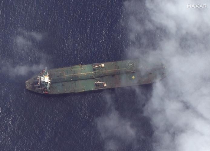 Een satellietbeeld van vorige week van de Iraanse tanker Adrian Darya 1 in de buurt van de Syrische haven Tartus.