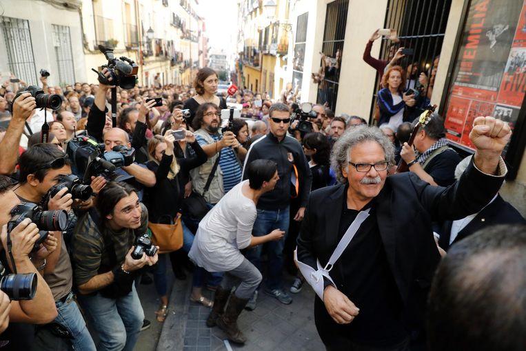 Een demonstratie in de straten van Madrid voor het onafhankelijkheids referendum in Catalonië Beeld anp