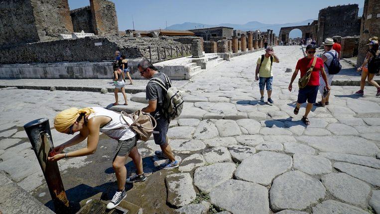 Toeristen in Pompeï.