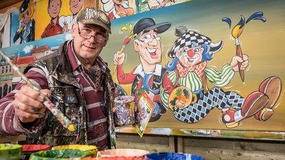 Filip Cardoen schildert reuzenstrippagina