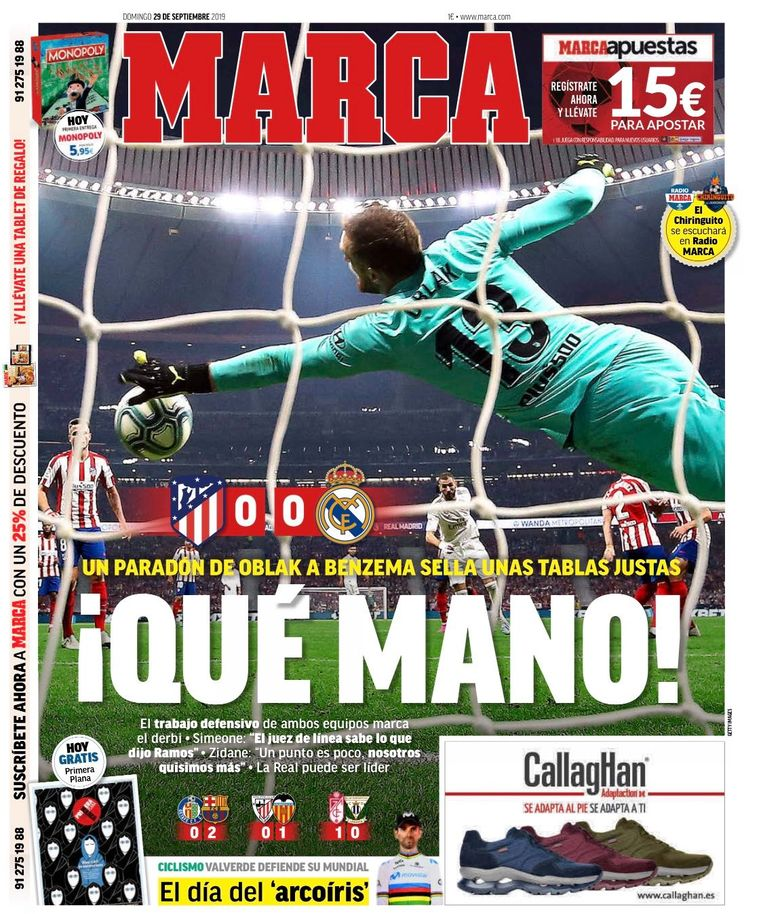 De frontpagina bij Marca.