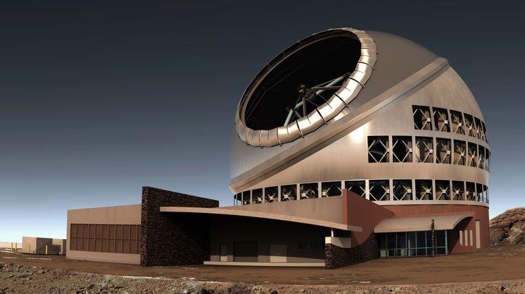 Impressie van de te bouwen Thirty Meter Telescope (TMT) op vulkaan Mauna Kea, Hawaii.  Beeld AP