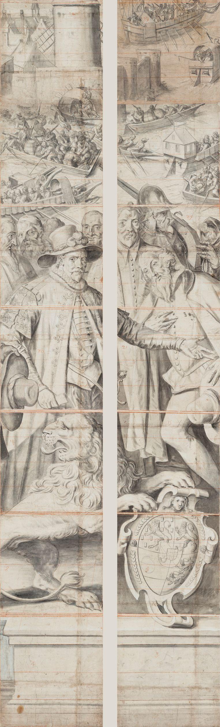 Twee stroken van het ontwerp voor het glas in loodraam voor de Sint-Jamskerk in Gouda, 1600-1602 Beeld Rijksmuseum