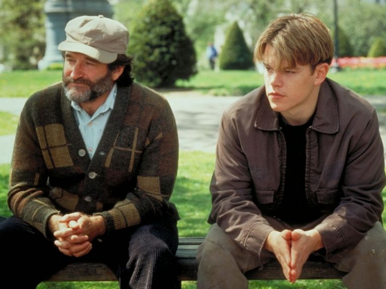 Robin Williams en Matt Damon in 'Good Will Hunting'.