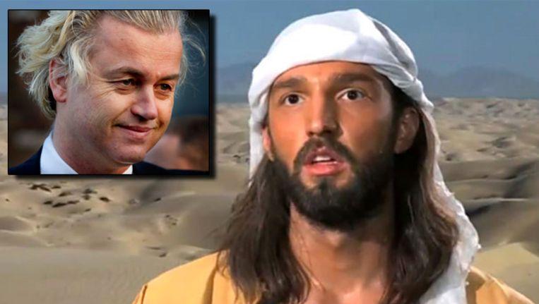 Screendump uit de film 'Innocence of Muslims'. Inzet: Geert Wilders Beeld ANP/AP