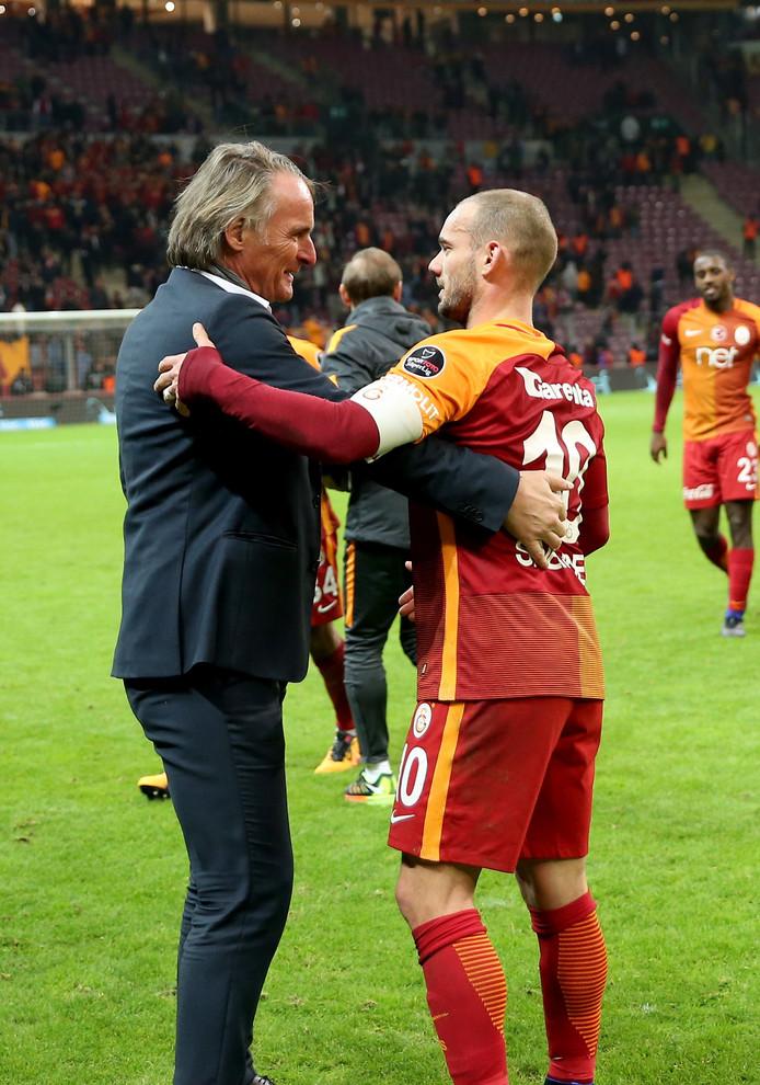 Jan Olde Riekerink met Wesley Sneijder in december 2016.