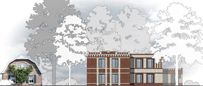 Het nieuwe verpleeghuis  van stichting Samen Zorgen - naast het bestaande, monumentale pand - aan de Hoofdstraat, pal op de grens van Andelst met Herveld