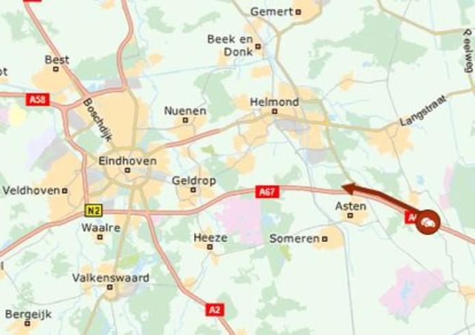 File in de richting van Eindhoven.