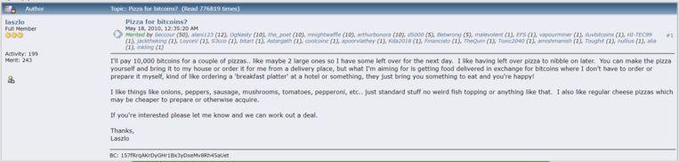 De post die Laszlo Hanyecz in 2010 plaatste op het online forum.