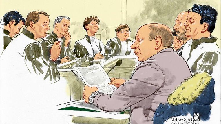 Rechtbanktekening van het proces van politiemol Mark M. Beeld anp