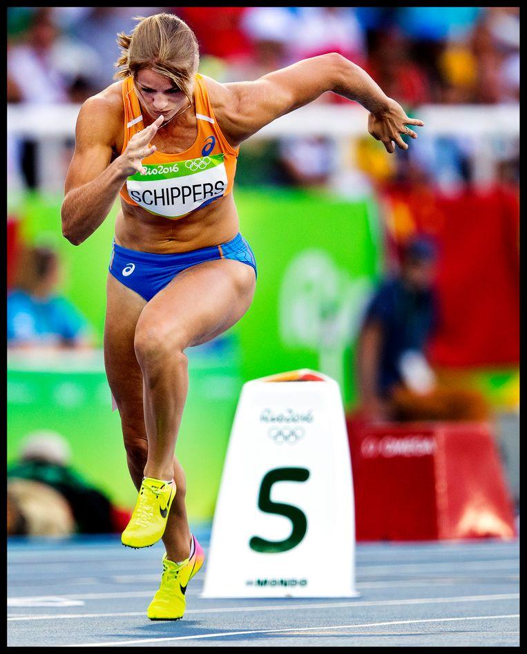Dafne Schippers op de 200 meter tijdens de Spelen van Rio in 2016. Beeld Hollandse Hoogte / Pim Ras