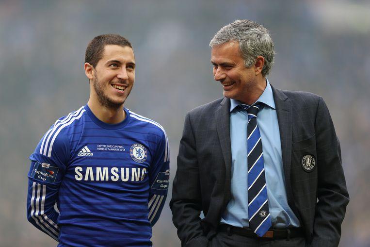 Jose Mourinho (rechts) en Eden Hazard.