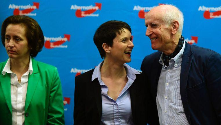 Beatrix von Storch, Frauke Petry en Albrecht Glaser van de AfD reageren op de eerste uitslagen. Beeld null