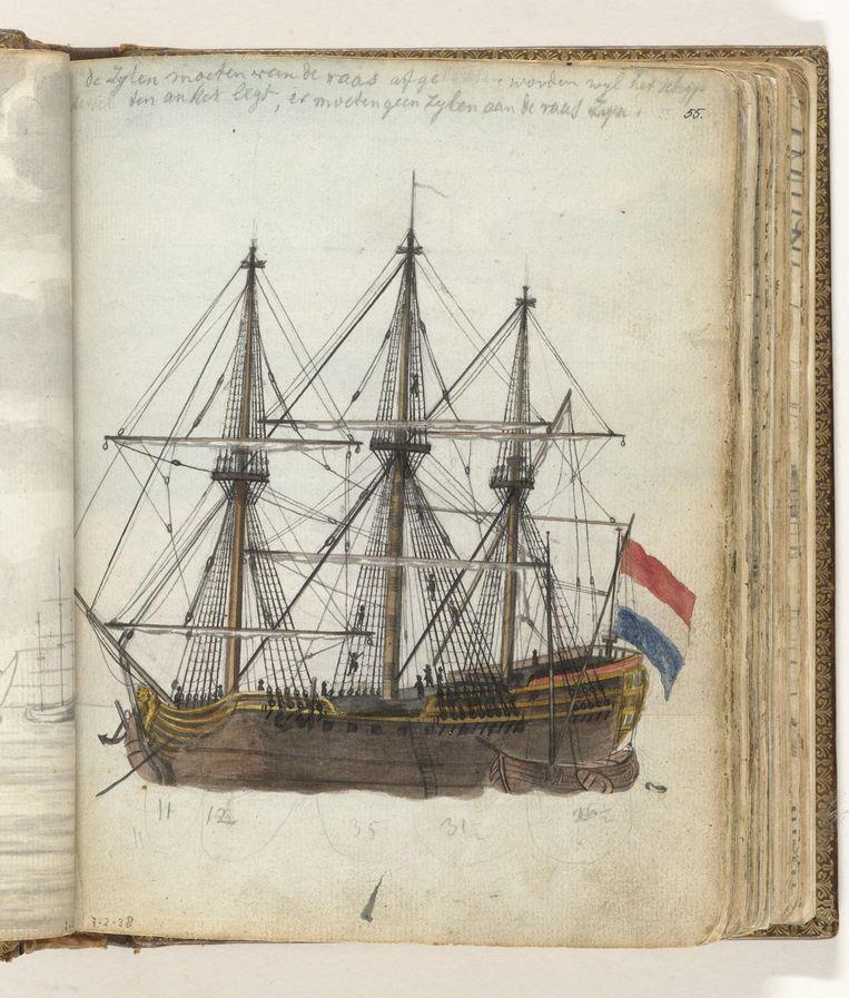 Kleurtekening van een VOC-schip van ca. 150 voet met een schuit langszij. Onderdeel uit het schetsboek van Jan Brandes, deel 2 (1808). Beeld Jan Brandes / collectie Rijksmuseum