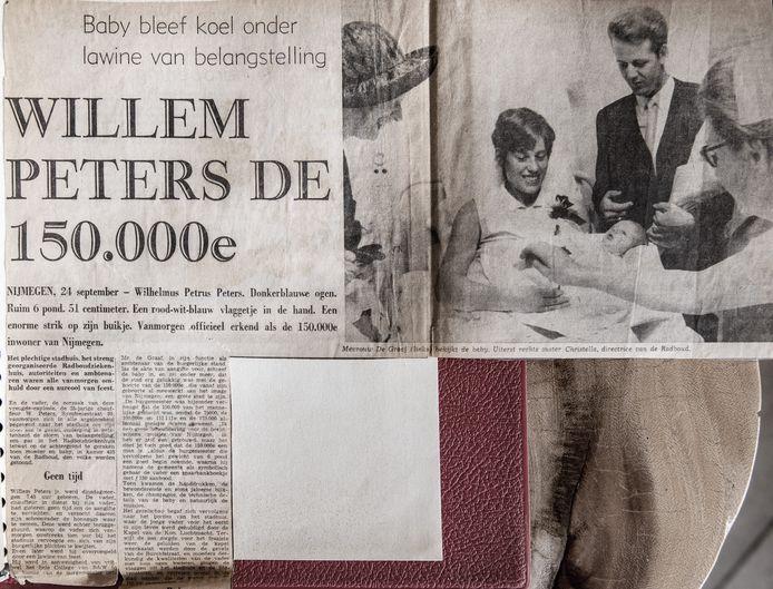 Nijmegen/Nederland: geboorte 150.000 ste inwoner William Peters.