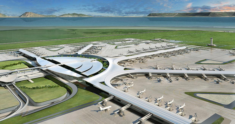 Ontwerp voor het nieuwe vliegveld in de baai van Manila. Het grote concern San Miguel Corporation gaat het bouwen.