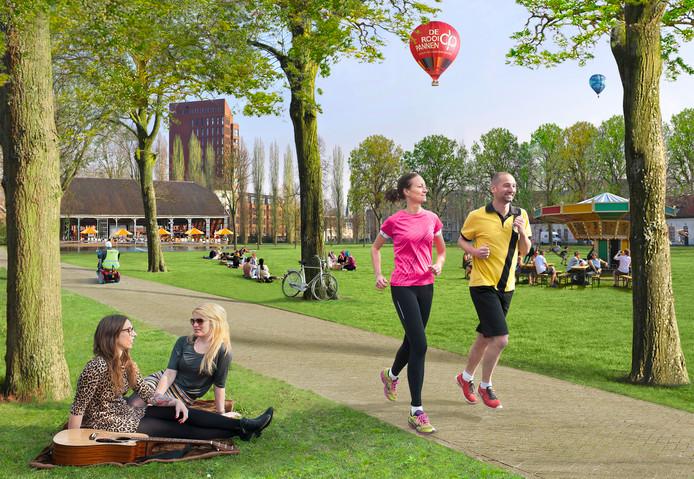 De Nieuwe Mark komt ook over het zuidelijke deel van de Seelig Kazerne (met de 'witte huisjes'). Dat deel wordt een openbaar park.