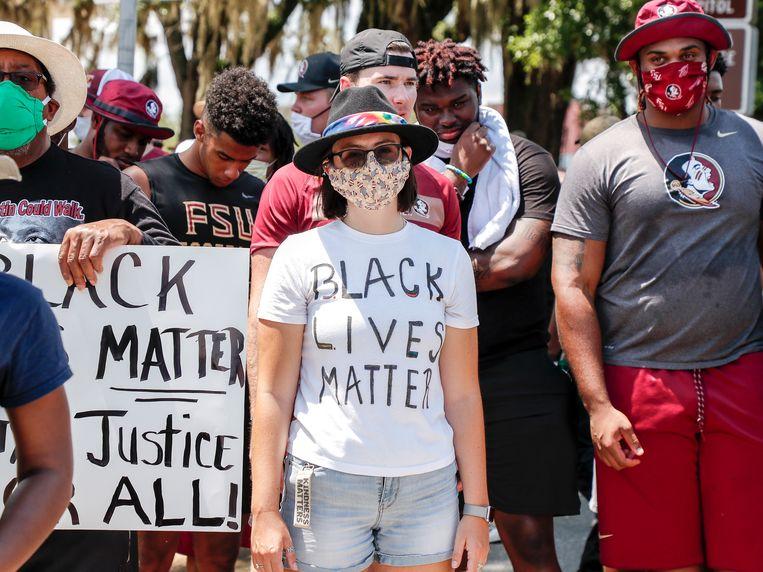 Een demonstratie tegen racisme in Tallahassee, Florida. Beeld Getty Images