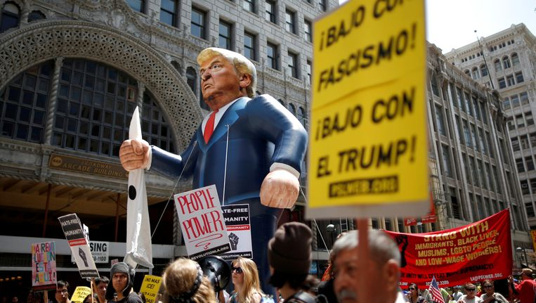 Protest tegen Trump in Los Angeles op 1 mei.