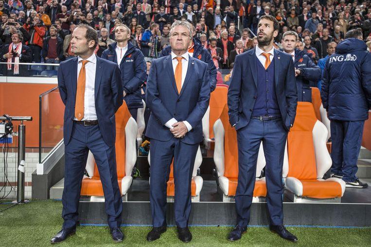 Danny Blind, Guus Hiddink en Ruud van Nistelrooy voor een oefenwedstrijd tegen Mexico in de Amsterdam Arena. Beeld Guus Dubbelman