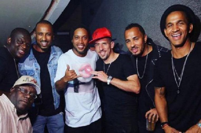 'Dinho' samen met Franck Ribéry in Miami.
