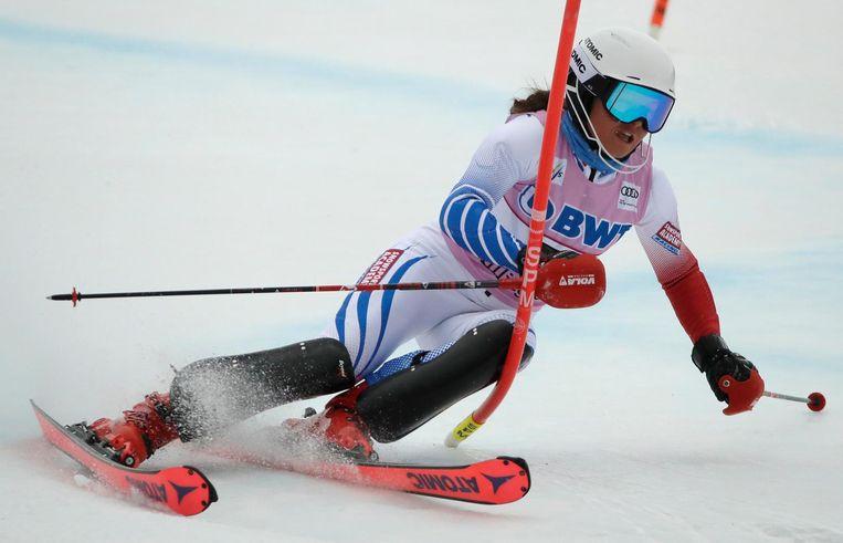 Adriana in actie op de 2017 FIS Alpine World Ski Championships in Sankt Moritz. Beeld ap