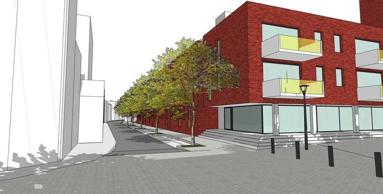 Een toekomstbeeld van de hoek van de Liefkemeirestraat met de Ommegangstraat.